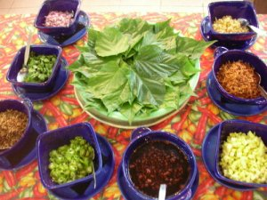 Alagaw salad, an adaptation of the Thai street food and snack miang kham.