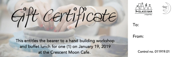 Gift Certificate January 2019 workshop